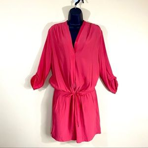 Promod Red Tie Waist Roll Cuff Mini Wrap Dress